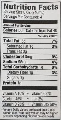 Unsweetened macadamia milk - Nutrition facts