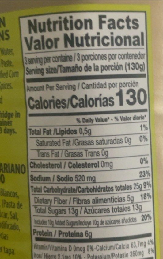 VegetarianBakedBeans - Nutrition facts - en