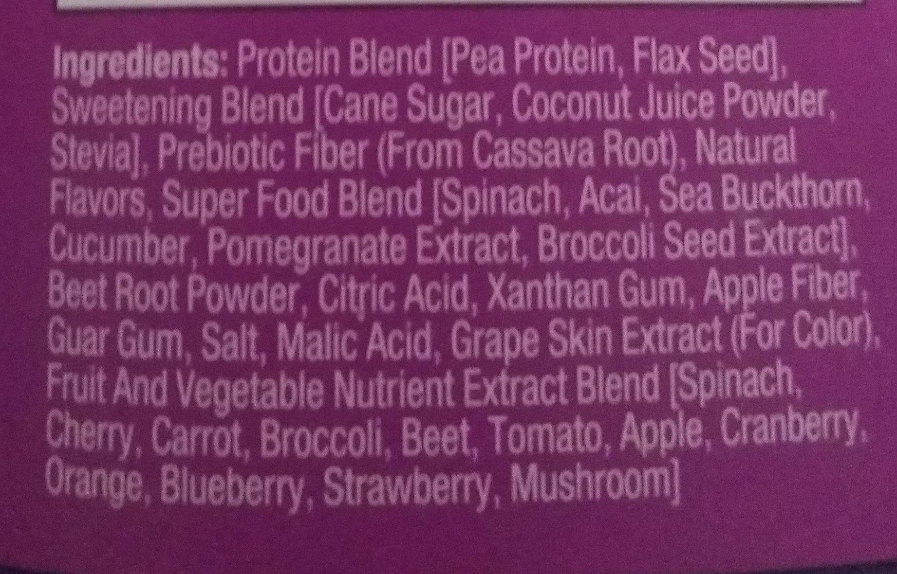 Super foods protein smoothoe - Ingredients - en