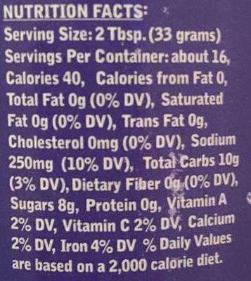 Carolina Sauce - Nutrition facts
