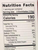 Beef enchiladas - Nutrition facts - en