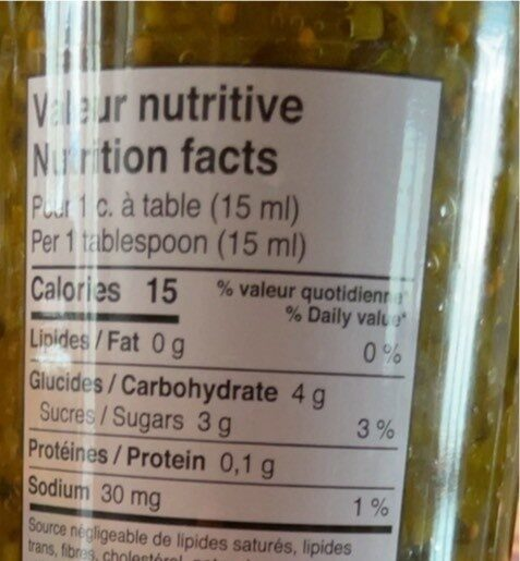 Relish - Nutrition facts - fr