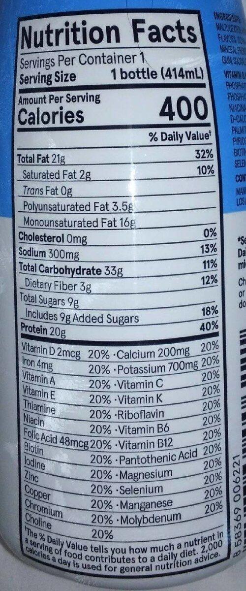 Soylent vanilla - Nutrition facts - en