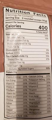 Powder v1.9 - Cacao - Informations nutritionnelles - en