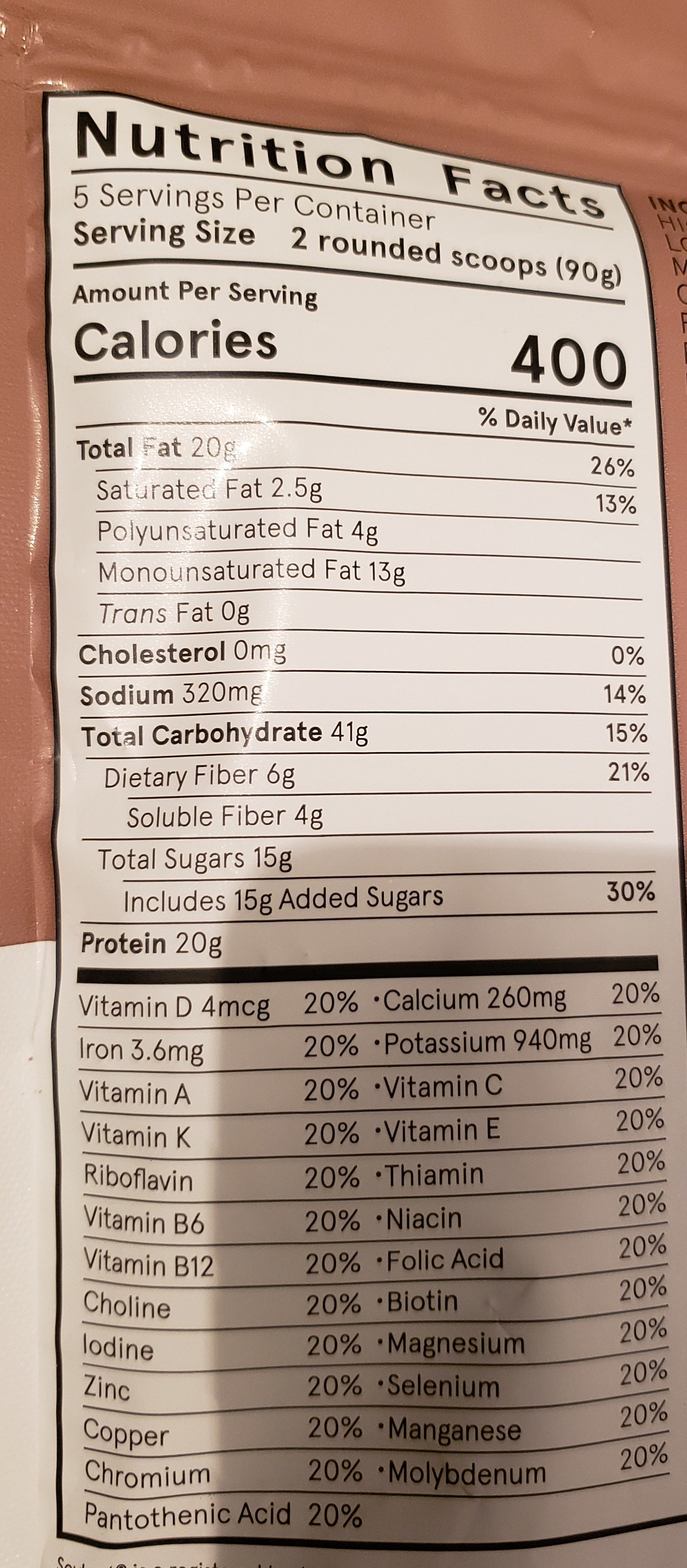 Powder v1.9 - Cacao - Nutrition facts - en