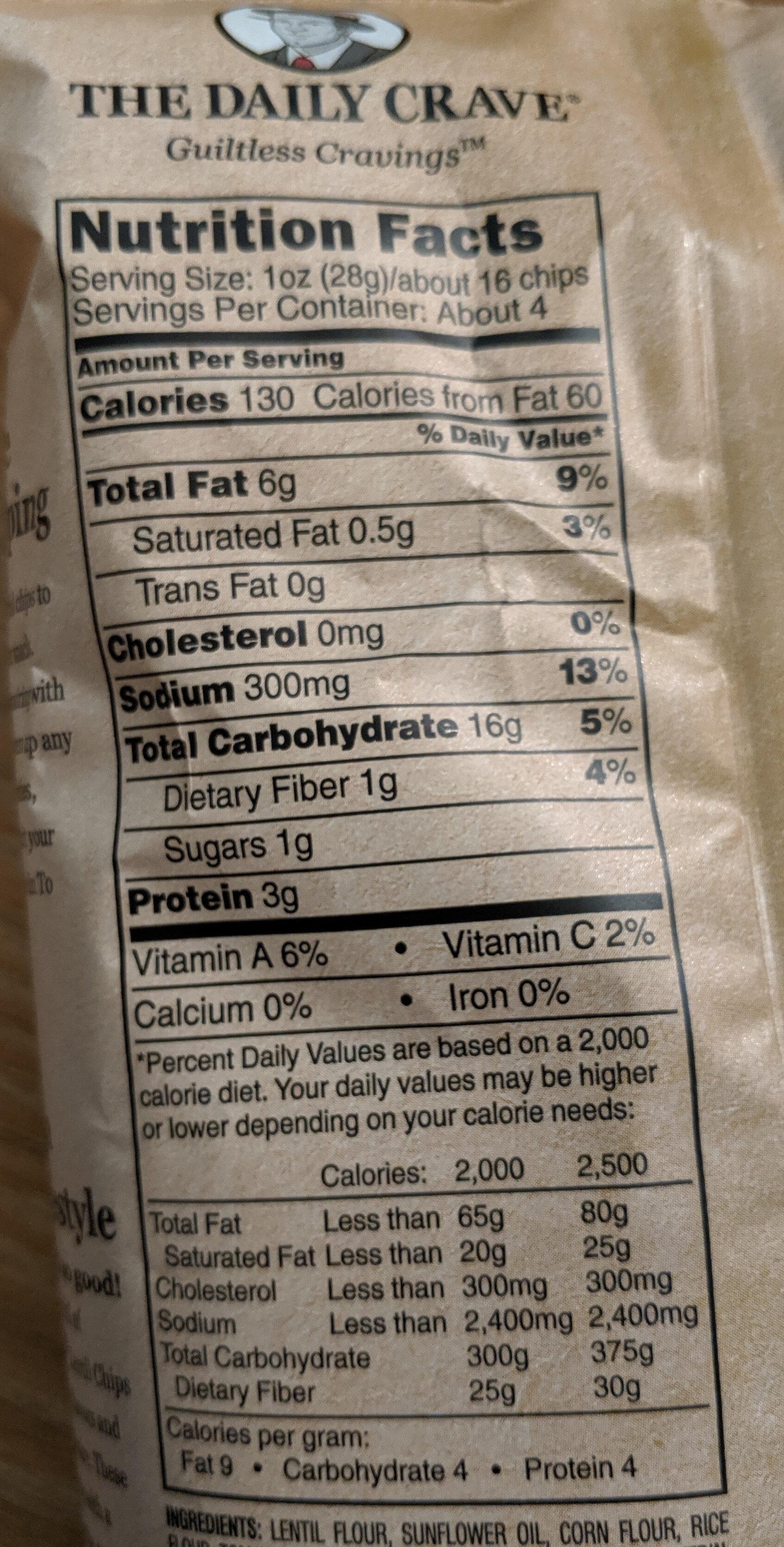 Tomato basil flavored lentil chips, tomato basil - Nutrition facts - en