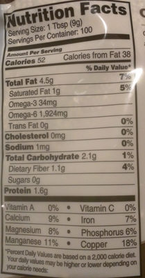 Sesame Seeds, Raw & Unhulled - Nutrition facts