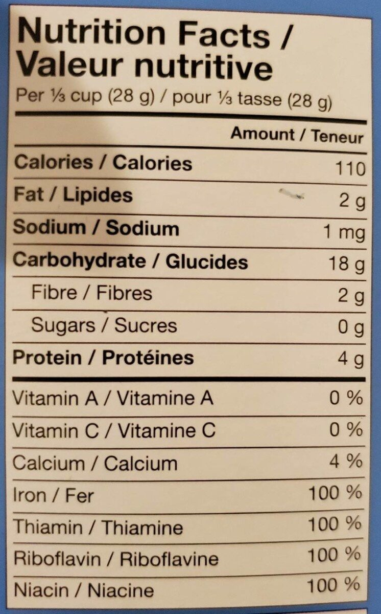 La première céréale biologique avoines + chia pour bébé - Informations nutritionnelles - fr