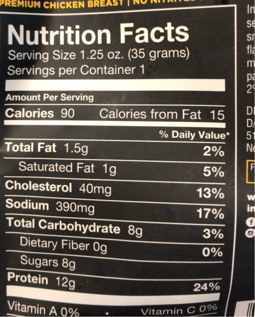Smoked Chicken Breast Honey BBQ - Nutrition facts - en