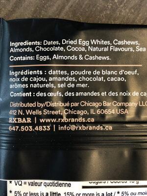Barres protéinée - Ingrédients