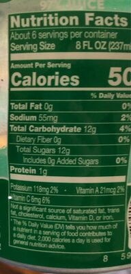 Vegetable & Fruit Juice Drink - Nutrition facts - en