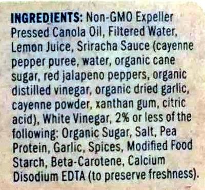 Just Mayo Sriracha - Ingredients