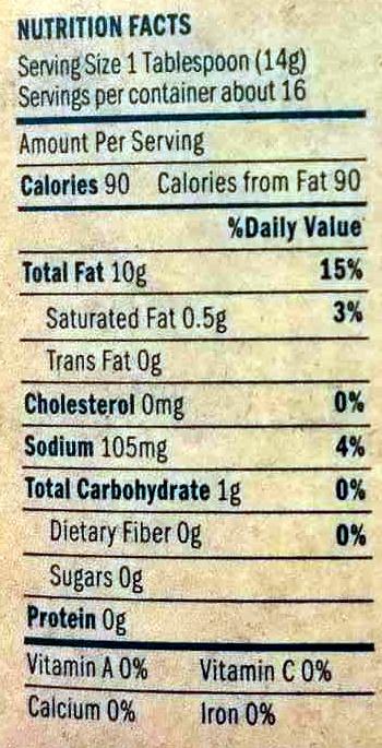 Just Mayo Sriracha - Nutrition facts