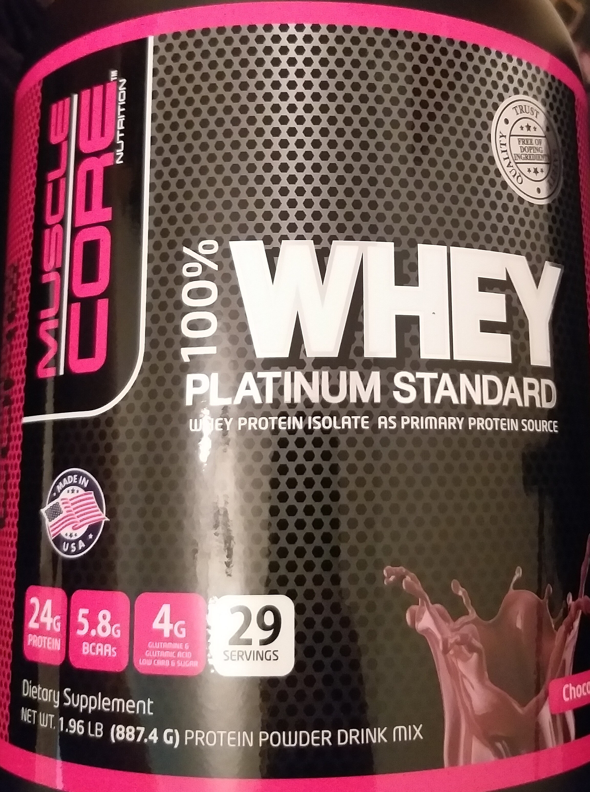 100% Whey platinum standard - Nutrition facts