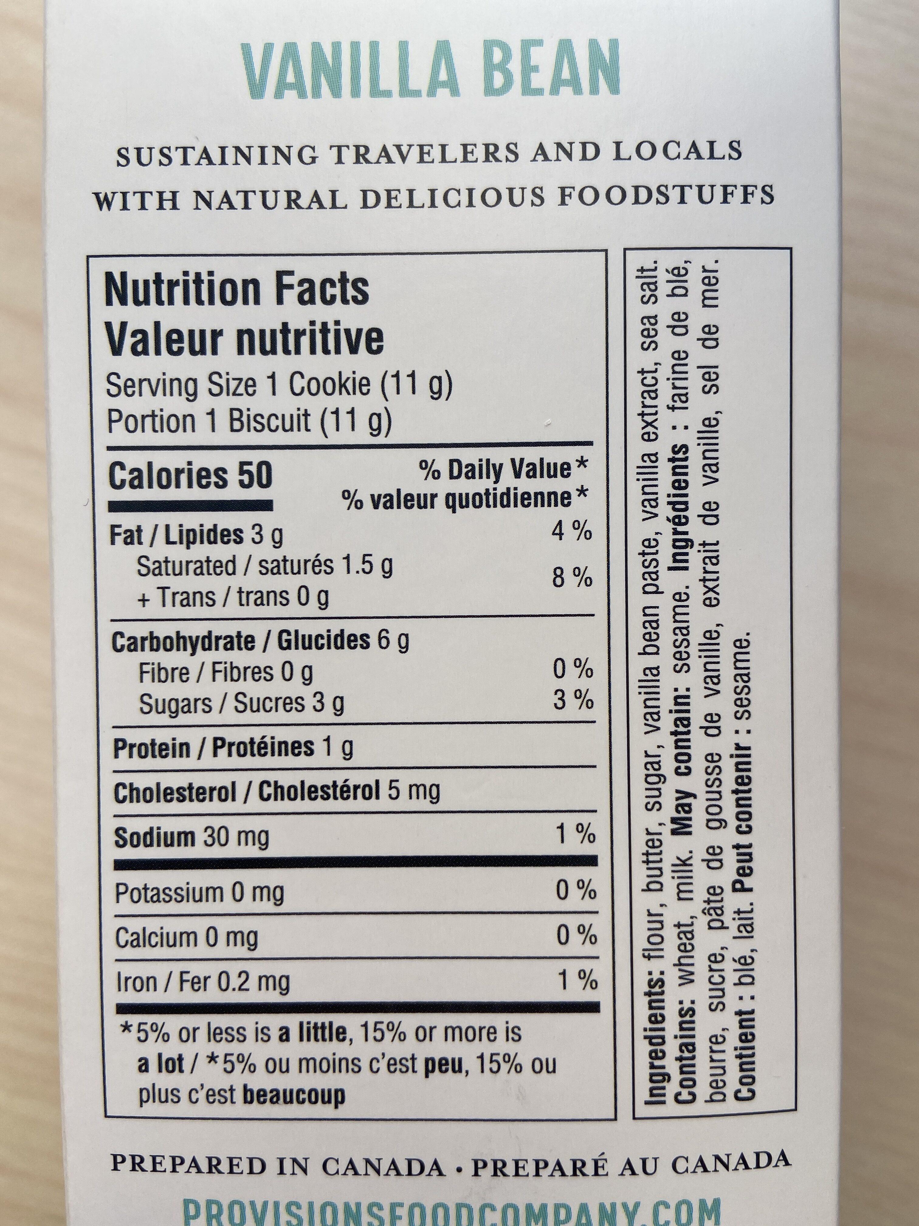 Vanilla Bean Shortbreads | Sablés au Gousse de Vanille - Valori nutrizionali - en