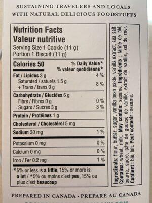 Vanilla Bean Shortbreads | Sablés au Gousse de Vanille - Informations nutritionnelles - fr