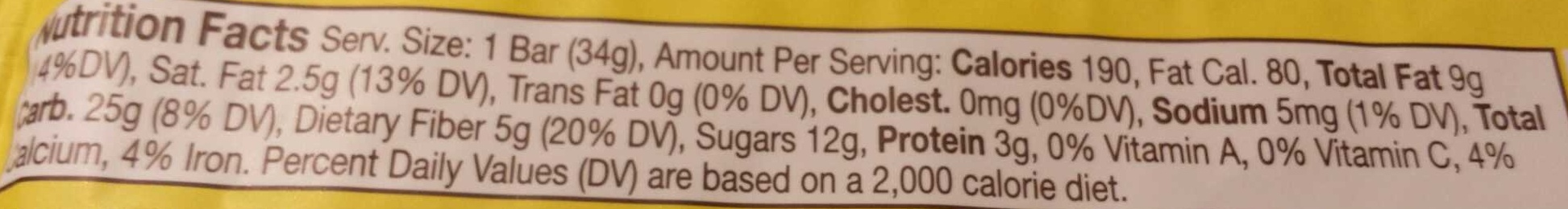 Organic banana flaxseed sprouted bar - Nutrition facts - en