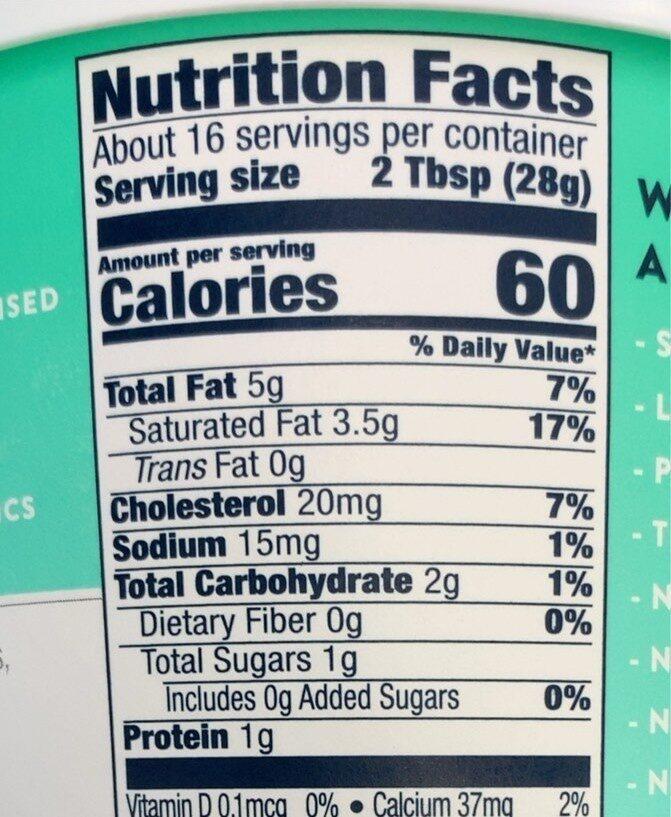 Sour Cream - Informations nutritionnelles - en