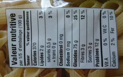 Pâtes blé dur biologique Garofalo - Informations nutritionnelles