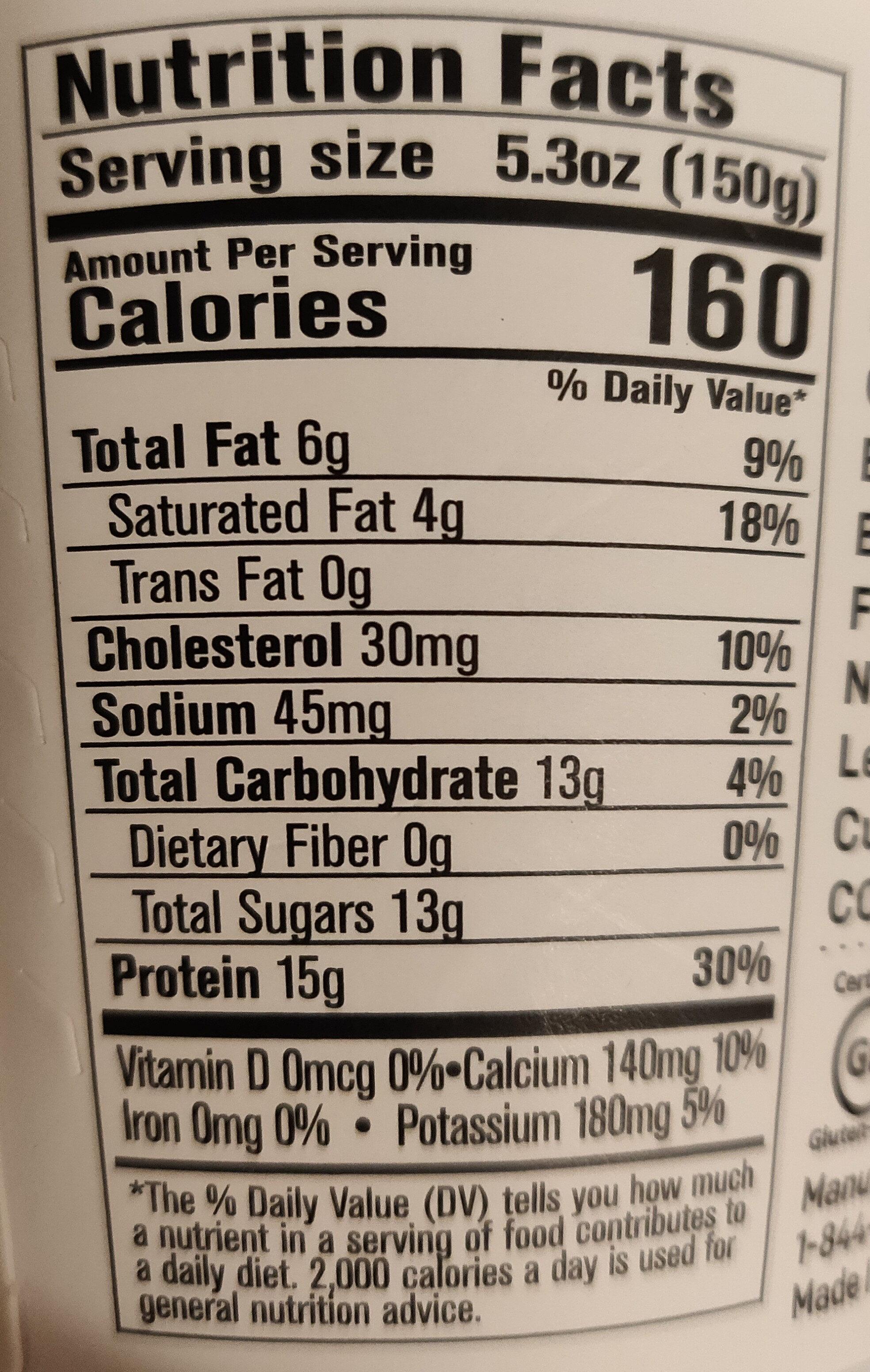 Grass Fed Quark - Nutrition facts