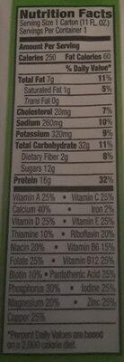 Organic Nutrition All-In-One Nutritional Shake Creamy Chocolate Fudge - Nutrition facts
