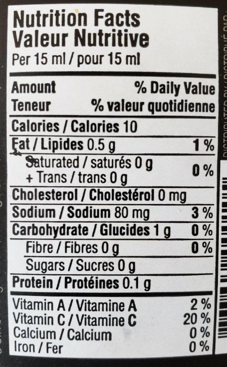 Harissa - Informations nutritionnelles - fr
