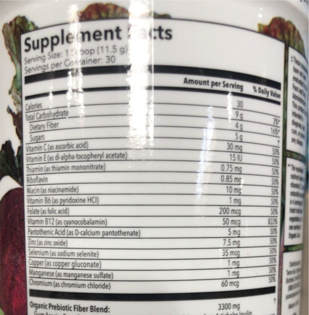Juice - Informations nutritionnelles - en