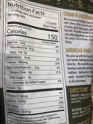 Cuban Black Beans - Informations nutritionnelles - en