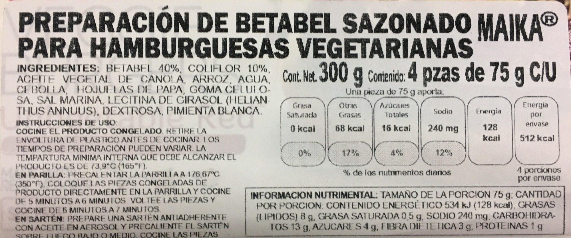 Maika, Artisan Crafted Veggie Burgers, Beet - Información nutricional - es