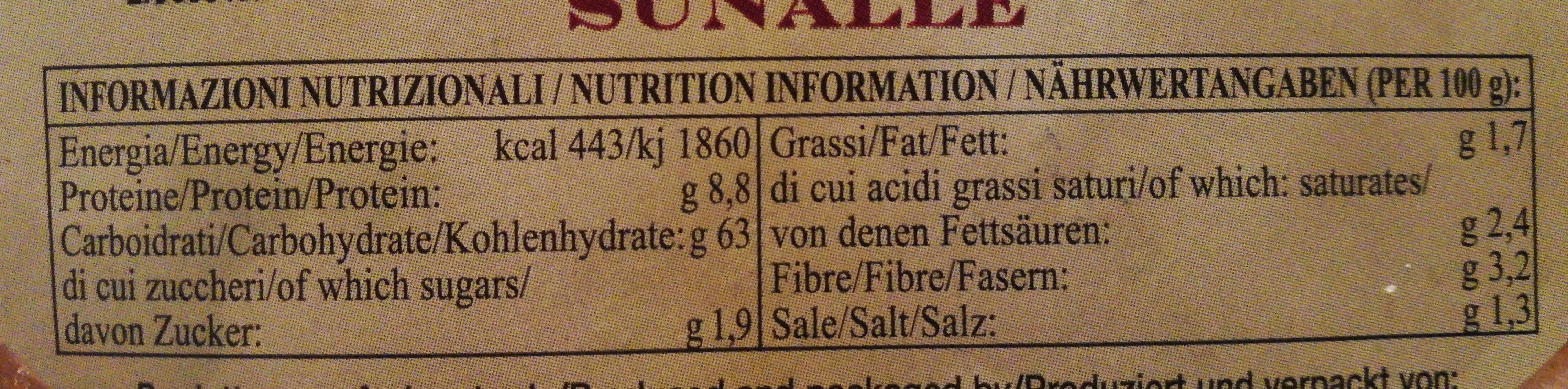 Pane Guttiau - Información nutricional - it
