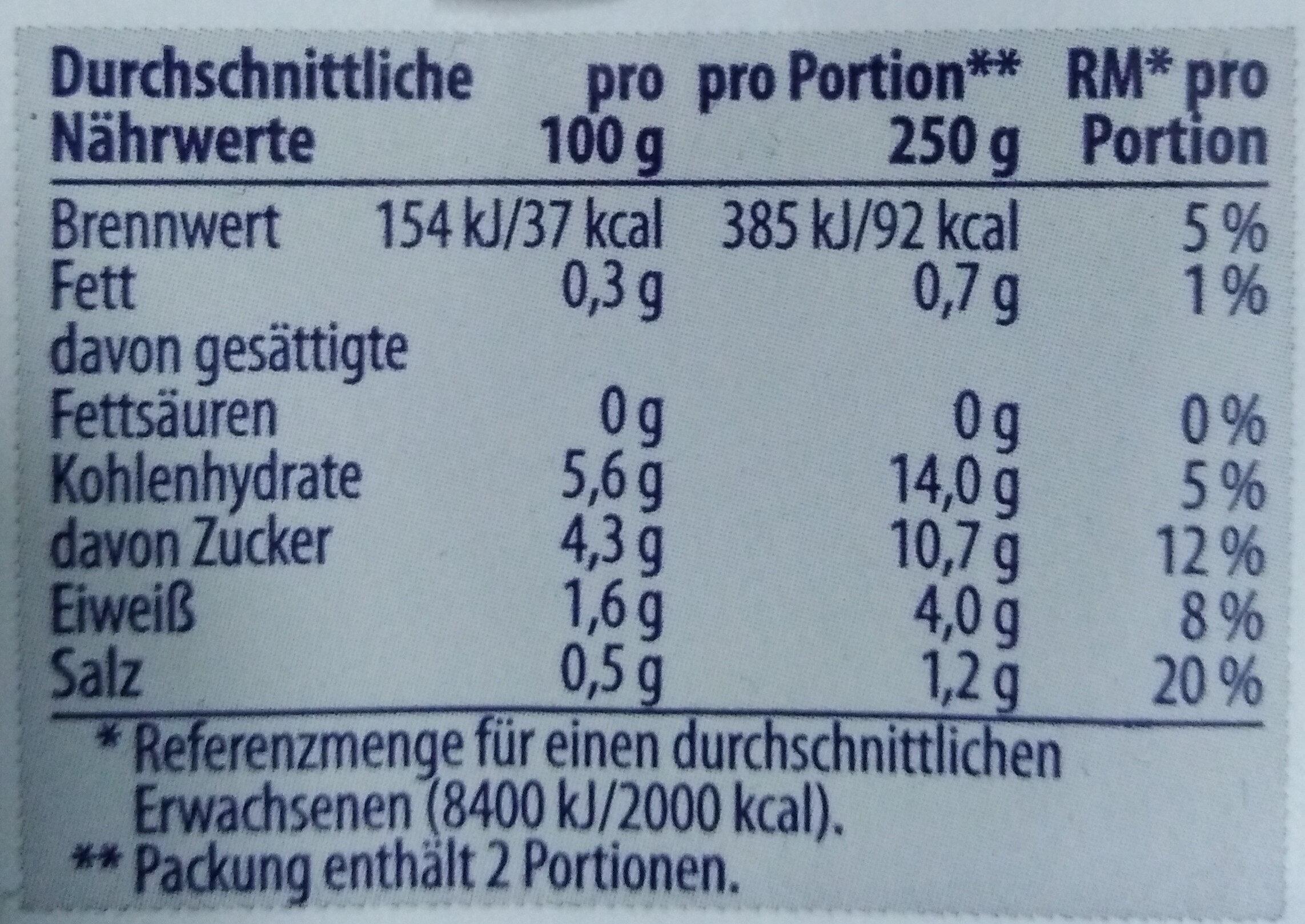 Tomaten passiert - Nutrition facts