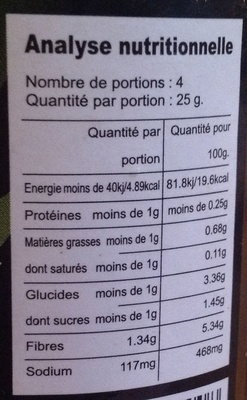 Citronelle émincée - Nährwertangaben - fr