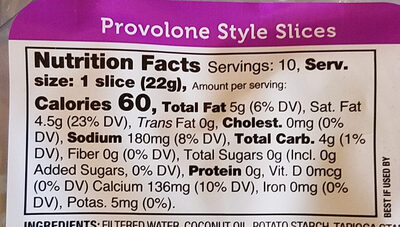 Provolone Style Slices - Nutrition facts - en