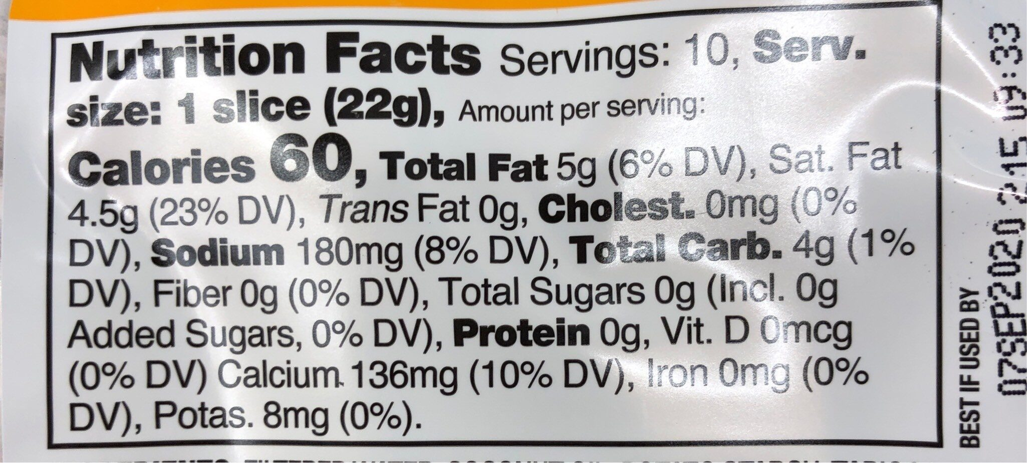 Cheddar style slices - Nutrition facts - en