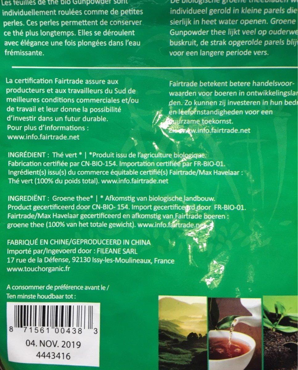 The vert touch organic - Ingrédients