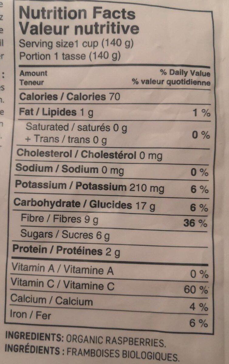 Framboises biologiques - Informations nutritionnelles - fr