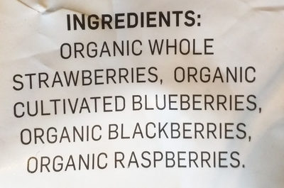 Organic very berry burst - Ingredients