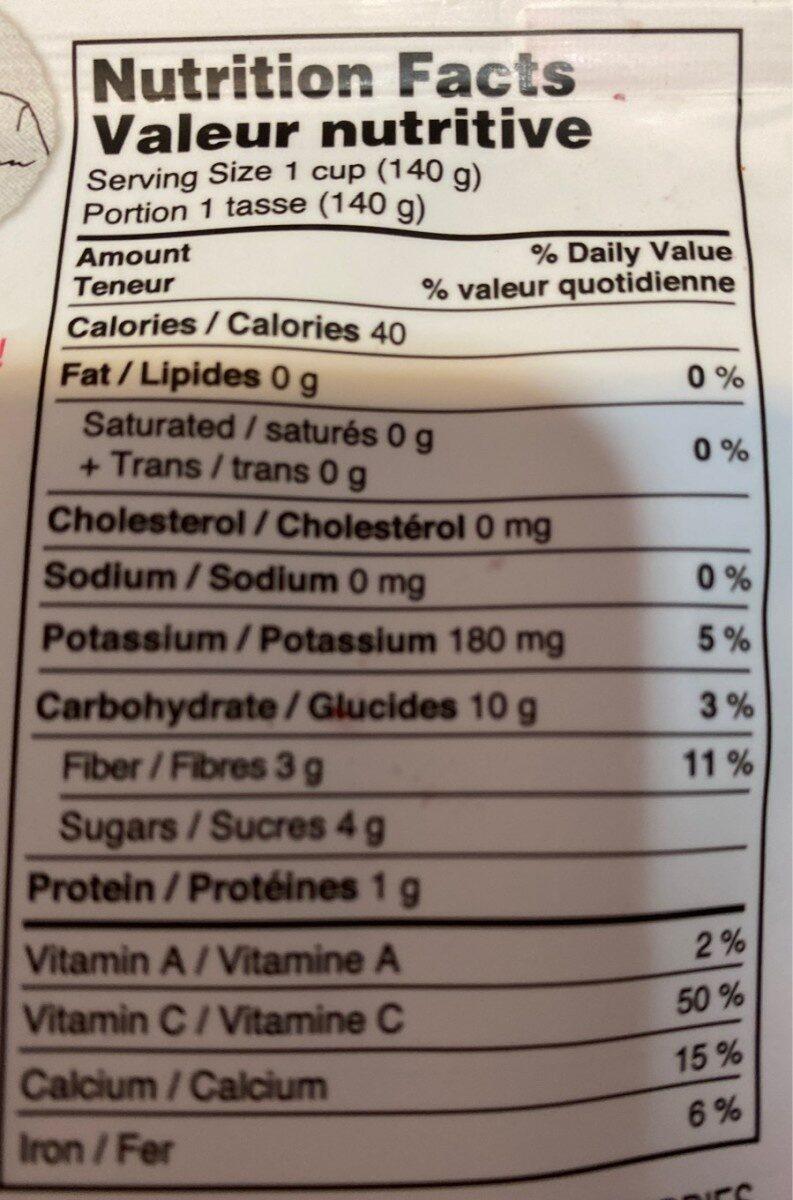 Recolte de fraises et rhubarbe - Nutrition facts - fr