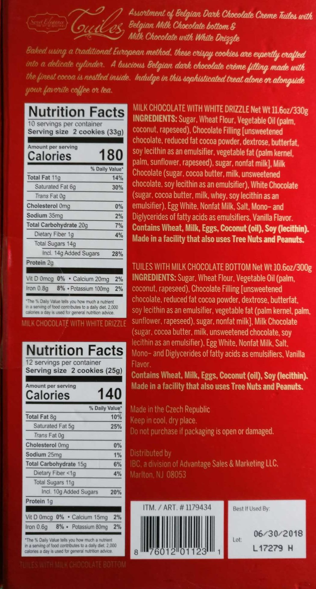Tuiles - Nutrition facts