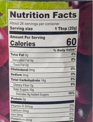Grape Jelly - Voedingswaarden - en