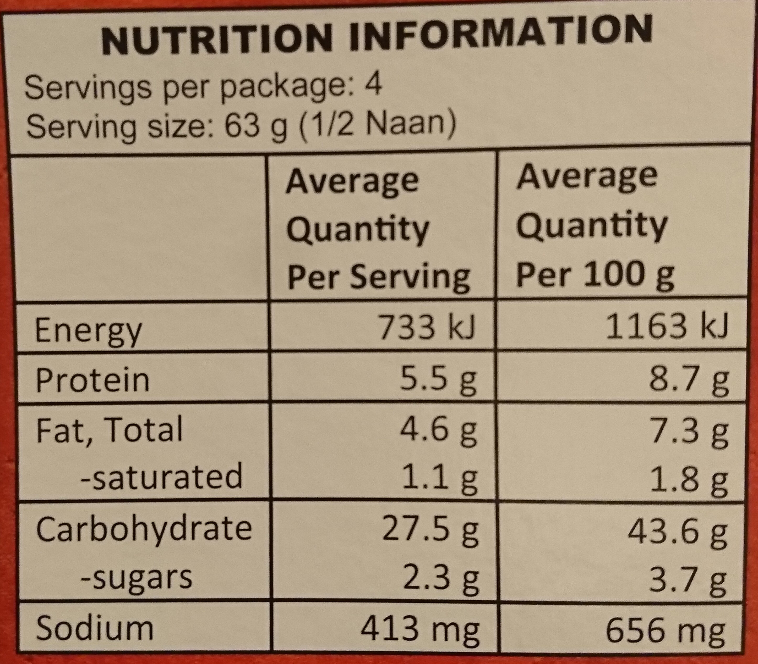 Naan Roasted Garlic - Valori nutrizionali - en
