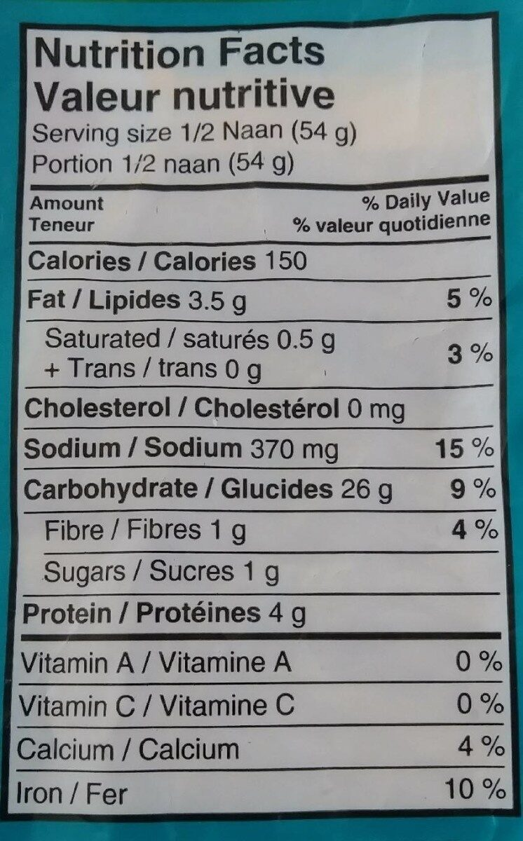 Pain Naan - Nutrition facts - fr