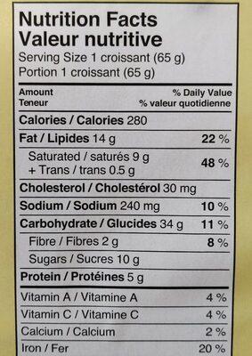 Chocolate Croissants - Informations nutritionnelles