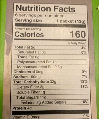 Instant Oatmeal Apple & Cinnamon - Nutrition facts - en