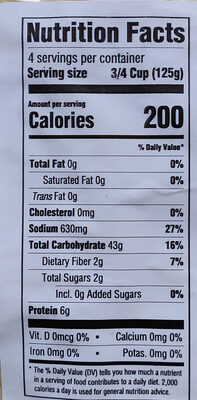Potato Gnocchi - Nutrition facts - en