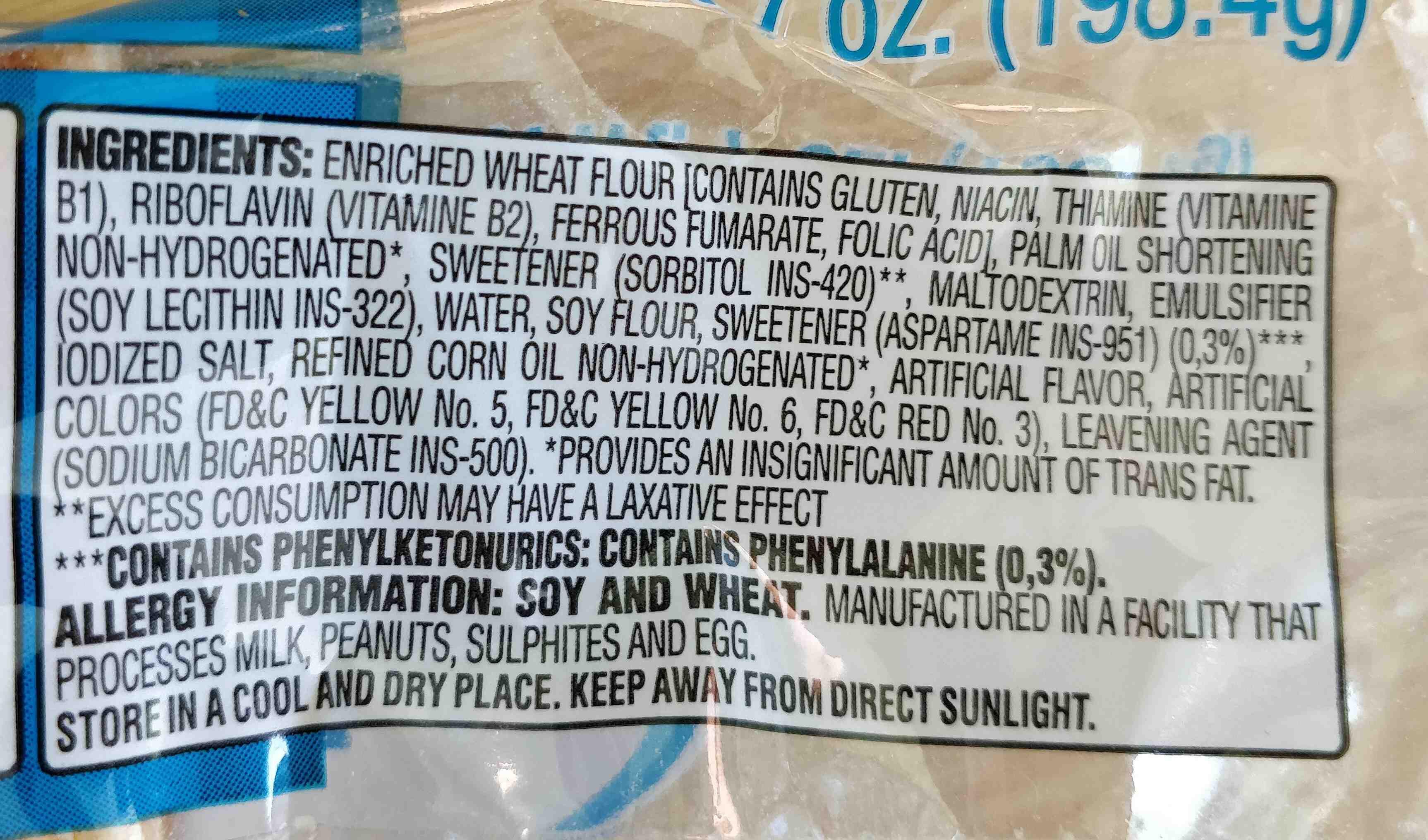 sugar free wafers - Ingredients - en