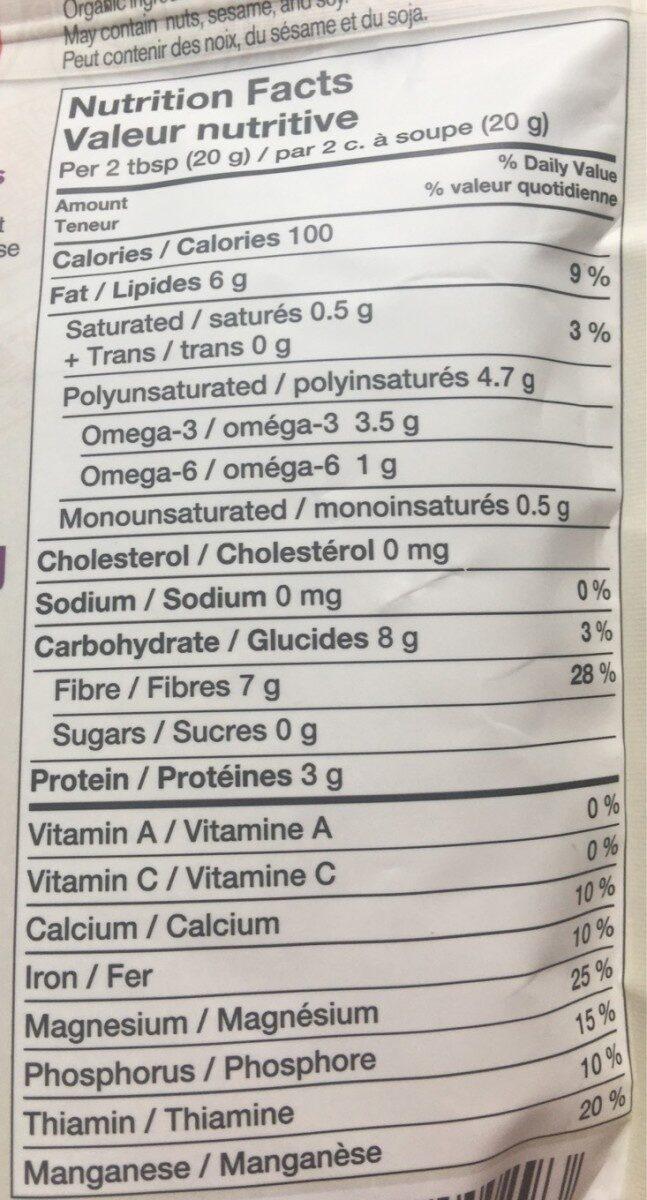 Chia Samen - Informations nutritionnelles - fr