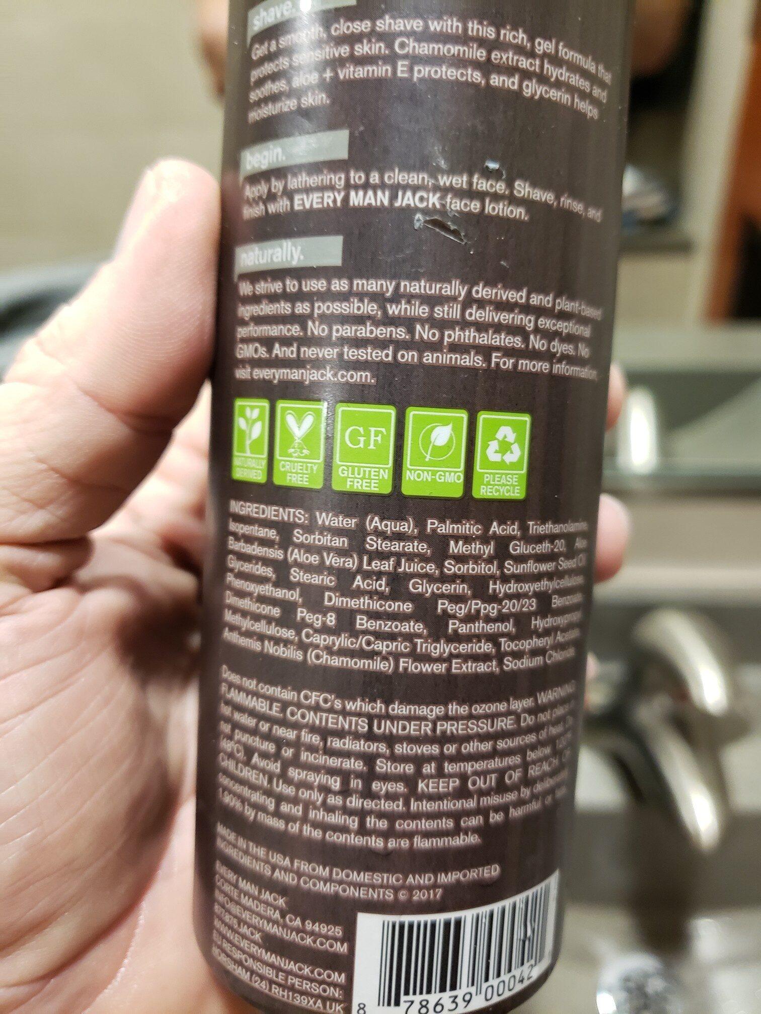 Every Man Jack Shave Gel - Ingredients