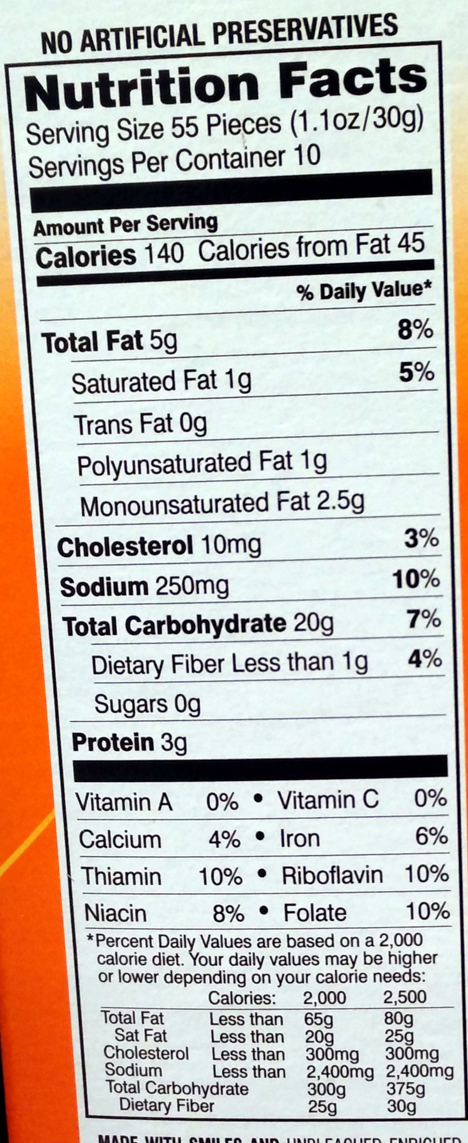 Goldfish backed snack crackers cheddar pepperidge farm for Serving size of fish