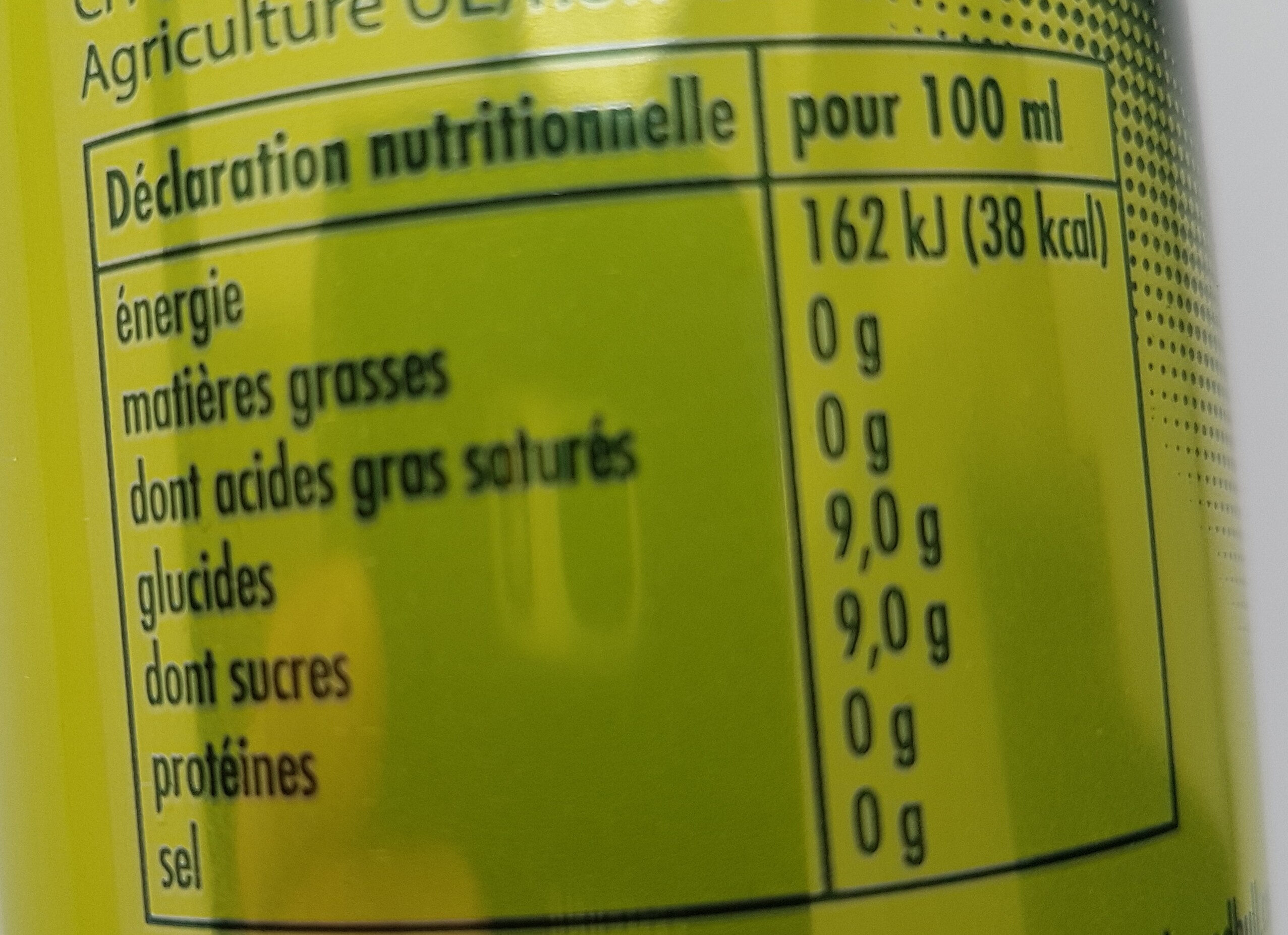 Organics Bitter Lemon - Nutrition facts
